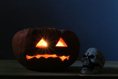 Halloween pumpkins and scull Royalty Free Stock Photo