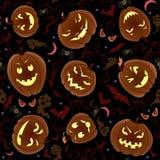 Halloween Pumpkins Seamless Pattern Stock Photography