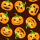Halloween Pumpkins Seamless Pattern. A Halloween seamless pattern with cartoon pumpkins with different facial expressions, isolated on brown background. Useful Royalty Free Stock Photos