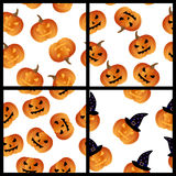 Halloween pumpkins seamless pattern set Stock Photography