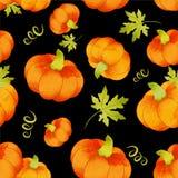 Halloween pumpkins seamless trendy pattern. Watercolor. royalty free illustration