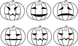 Halloween pumpkins. Set. A vector illustration Royalty Free Stock Photos