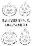Halloween Pumpkins Set Contours. Holiday Halloween Symbols, Cartoons Pumpkins Jack O Lantern Set, Black Contours Isolated on White Background. Vector Stock Images