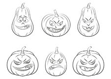 Halloween Pumpkins Set Contours. Holiday Halloween Symbols, Cartoons Pumpkins Jack O Lantern Set, Black Contours Isolated on White Background. Vector Stock Photo