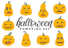 Halloween pumpkins set. Set of halloween pumpkins with different emotions Stock Image