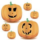 Halloween pumpkins set 10 vector illustration