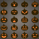 Halloween pumpkins set 20 icons. Eps 10 Vector Illustration