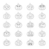 Halloween pumpkins set 20 icons Stock Photo