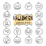 Halloween pumpkins set of linear Royalty Free Stock Photo