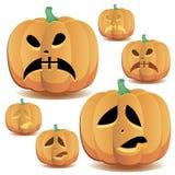 Halloween pumpkins set 13 vector illustration