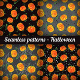 Halloween. Pumpkins. Set of seamless patterns. Royalty Free Stock Photo