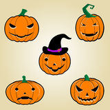 Halloween Pumpkins. Set pumpkins for Halloween. Halloween Pumpkins Set. Vector icon of halloween pumpkins. Jack O Lantern icon set. Collection of five funny royalty free illustration