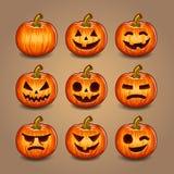 Halloween Pumpkins Set. Vector. Stock Image