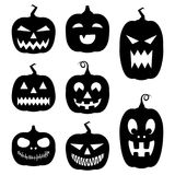 Halloween pumpkins silhouette set. Vector set of Halloween pumpkins silhouette with different emotions isolated on white background Royalty Free Stock Photos