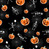 Halloween pumpkins and skeleton background Royalty Free Stock Photos