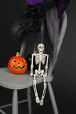 Halloween Pumpkins and Skeleton on Chair Stock Images