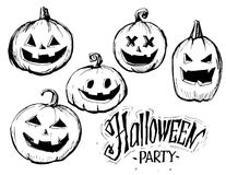 Halloween pumpkins sketch. Vector illustration Stock Photography