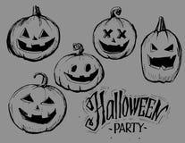 Halloween pumpkins sketch. Vector illustration Stock Photos