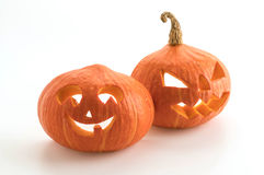 Halloween pumpkins smile and scrary eyes for party night. On white Royalty Free Stock Images