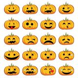 Halloween pumpkins smiles. Halloween pumpkins with different emotions Stock Photo