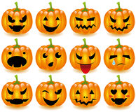 Halloween pumpkins smileys. 12 smileys shaped as halloween pumpkins Stock Photography