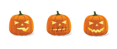 Halloween pumpkins smileys set with luminous eyes Royalty Free Stock Image
