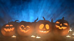 Halloween pumpkins on smoky background stock footage