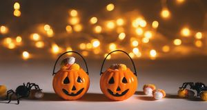Halloween pumpkins with spider