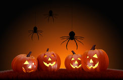 Halloween pumpkins and spiders. Stock Images