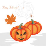 Halloween pumpkins and spiders. Greeting postcard Royalty Free Stock Photos