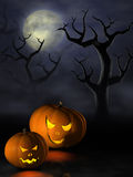 Halloween pumpkins in a spooky forest at night Stock Photography