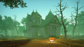 Halloween pumpkins and spooky house Stock Image