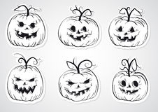 Halloween pumpkins stickers Royalty Free Stock Images
