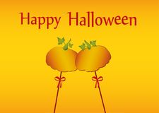Halloween. Pumpkins on a sticks with a bows and ribbons. Vector. Greeting card / invitation to a party. Empty space for text or advertising Royalty Free Stock Image