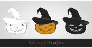 Halloween Pumpkins. 3 style Halloween Pumpkins Fun Stock Photo