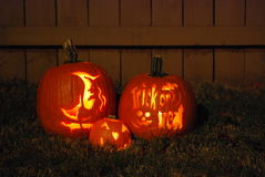 Halloween pumpkins. Three Halloween pumpkin carved with his own hands stock images