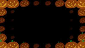 Halloween pumpkins transition with glowing face on alpha channel background. 4K