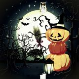 Halloween pumpkins under the moonlight. Illustration Stock Photography