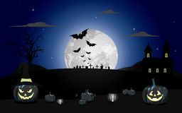 Halloween pumpkins under the moonlight vector illustration. Halloween pumpkins under the moonlight with bats vector illustration Royalty Free Stock Photo