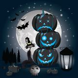 Halloween pumpkins under the moonlight Royalty Free Stock Photography