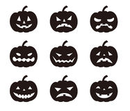Halloween pumpkins with various expressions Royalty Free Stock Photography