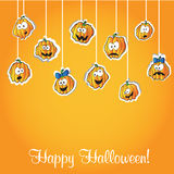 Halloween pumpkins - vector  card Royalty Free Stock Photography