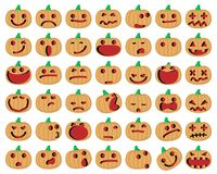 Halloween Pumpkins. Vector Illustration of A Set Of Halloween Pumpkins Emoticons Set Royalty Free Stock Photos
