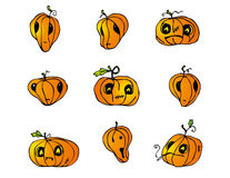 Halloween Pumpkins vector pack. Collection of cartoon vector graphic elements with Halloween motives. These vectors are perfect for Halloween greeting cards and Royalty Free Stock Images