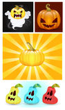 Halloween Pumpkins Vectors. Cartoon Horrible Halloween Jack-O-Lantern Vector Faces Expressions Stock Image