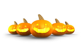 Halloween Pumpkins  on white background. 3d render Royalty Free Stock Photo