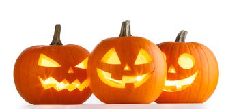 Halloween Pumpkins on white Royalty Free Stock Image