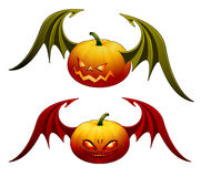 Halloween pumpkins with wings Royalty Free Stock Photos