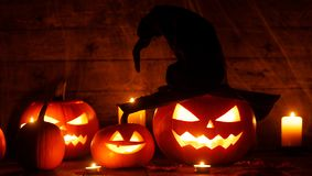 Halloween pumpkins with witches hat Stock Images