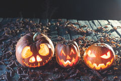 Halloween pumpkins at wood background. Carved scary faces of pumpkin. Stock Images